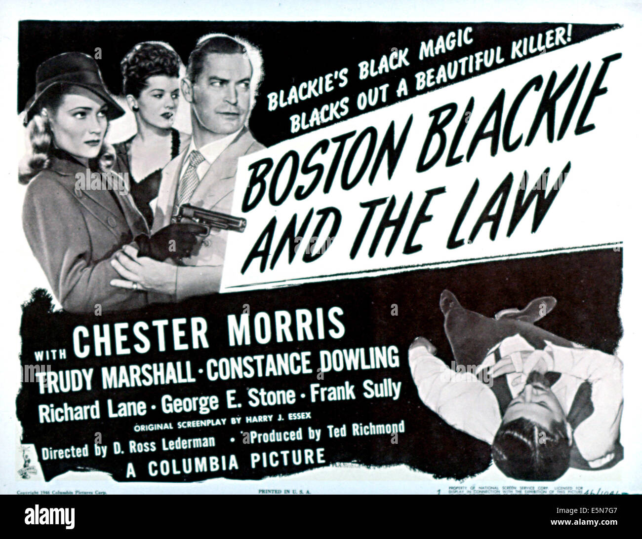 BOSTON BLACKIE AND THE LAW, Constance Dowling, Trudy Marshall, Chester Morris, 1946 - Stock Image