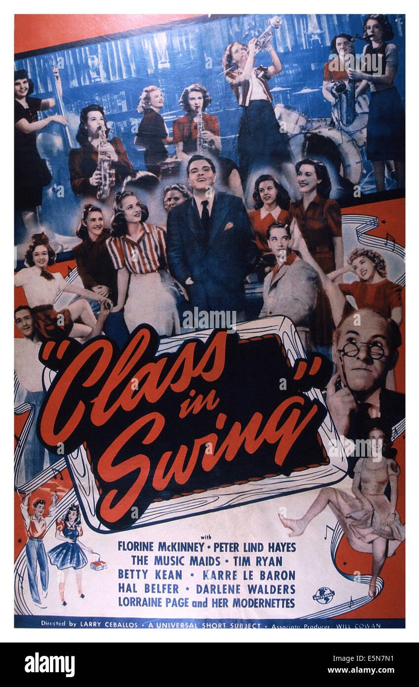 CLASS IN SWING, Peter Lind Hayes (hands in pockets), Tim Ryan (pince-nez), Betty Kean (raised leg), 1940 Stock Photo