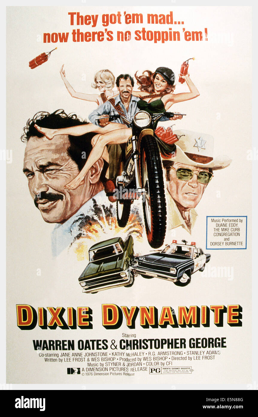 DIXIE DYNAMITE, Warren Oates (left and on motorcycle), Christopher George (right), 1976 - Stock Image