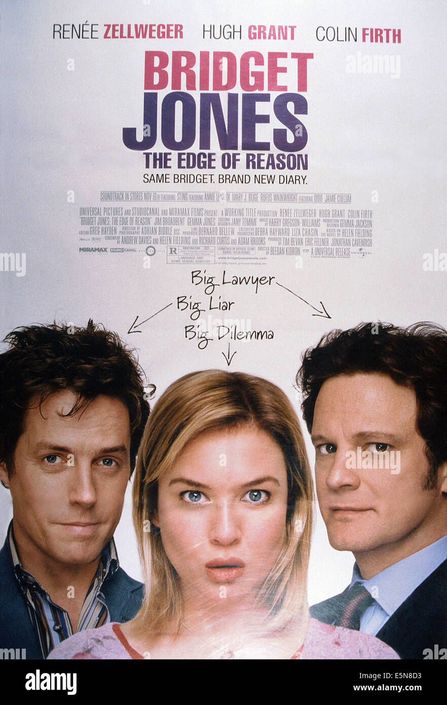 BRIDGET JONES: THE EDGE OF REASON, from left: Hugh Grant, Renee Zellweger, Colin Firth, 2004, © Universal/courtesy - Stock Image