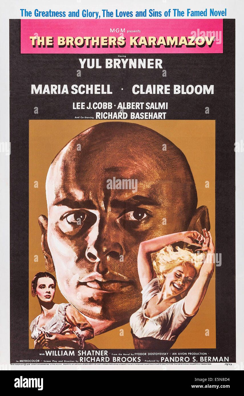 THE BROTHERS KARAMAZOV, U.S. poster, from left: Claire Bloom, Yul Brynner, Maria Schell, 1958 - Stock Image