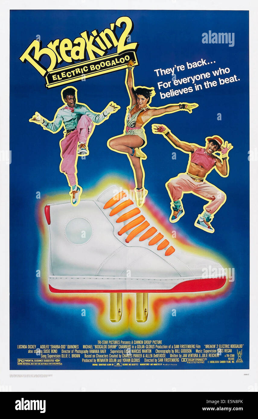 BREAKIN' 2: ELECTRIC BOOGALOO, US poster art, from left: Michael Chambers, Lucinda Dickey, Adolfo Quinones, - Stock Image
