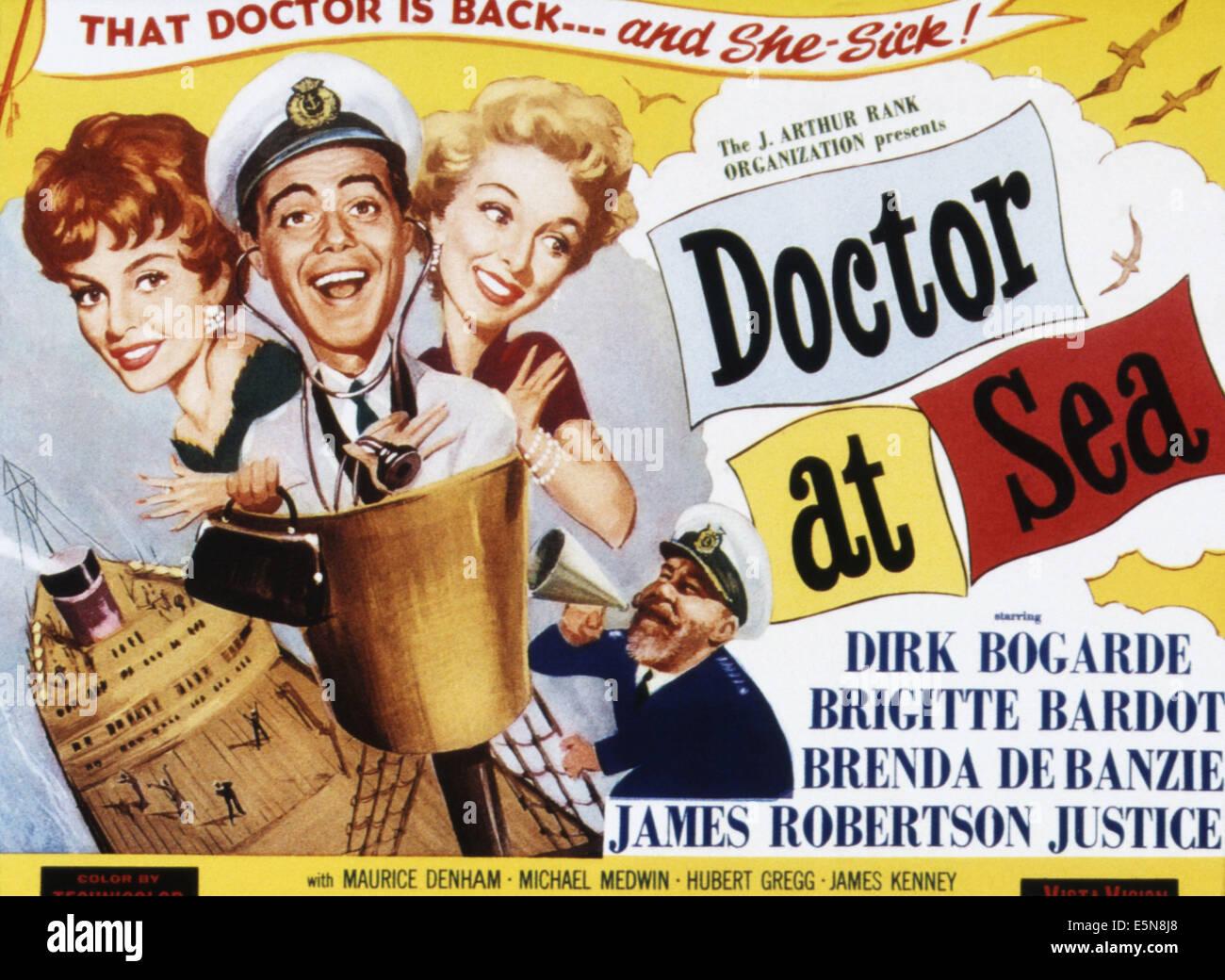 DOCTOR AT SEA, from left: Brigitte Bardot, dirk Bogarde, Brenda De Banzie, James Robertson Justice, 1955 - Stock Image