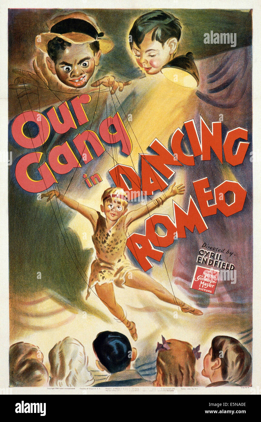 DANCING ROMEO, U.S. poster, Our Gang, top: Billie 'Buckwheat' Thomas, Robert Blake; center: Billy 'Froggy' Laughlin,Stock Photo