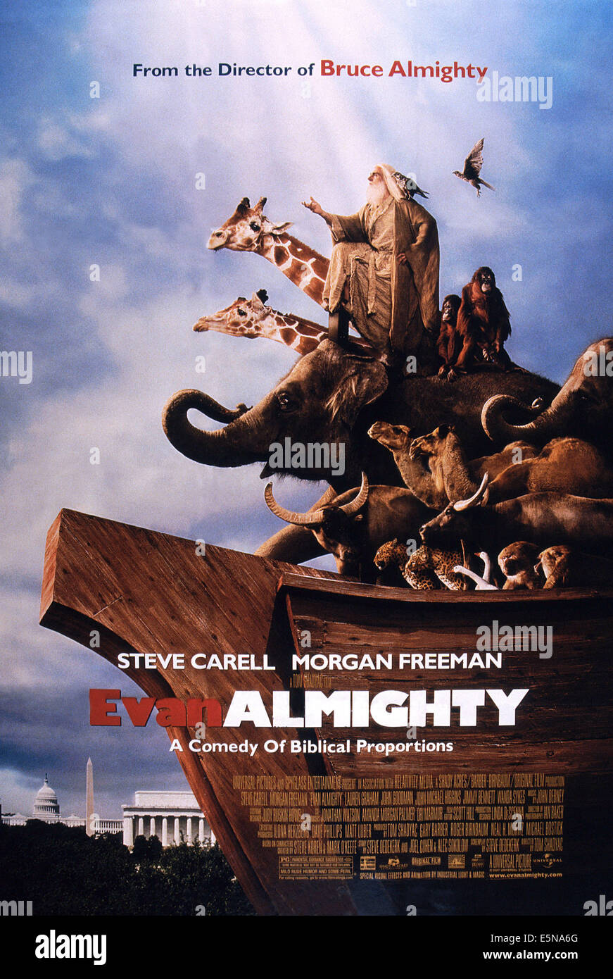 EVAN ALMIGHTY, Steve Carell (center), 2007. ©Universal/courtesy Everett Collection - Stock Image