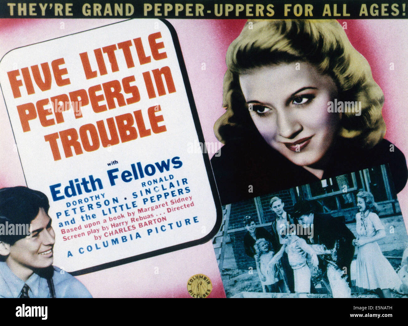 FIVE LITTLE PEPPERS IN TROUBLE, from left, Ronald Sinclair, Edith Fellows, 1940 - Stock Image