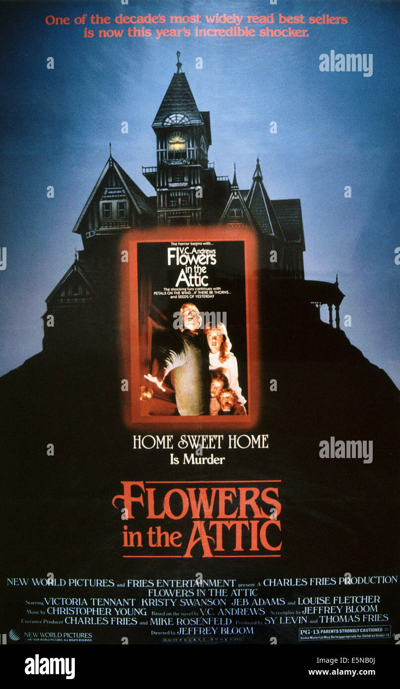 FLOWERS IN THE ATTIC, rear from left: Jeb Stuart Adams, Kristy Swanson, front from left: Lindsay Parker, Ben Ryan - Stock Image
