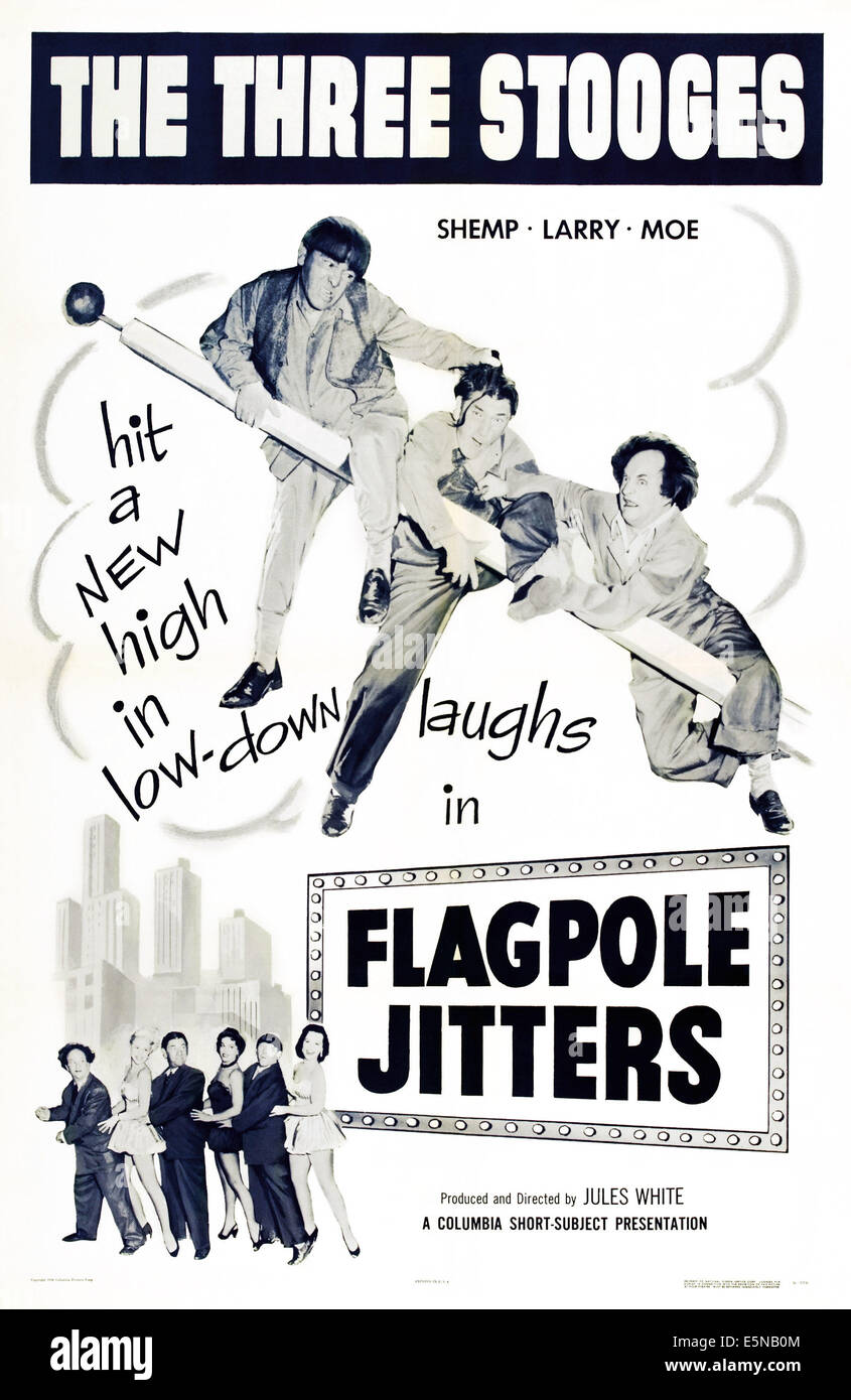 FLAGPOLE JITTERS, The Three Stooges-top from left: Moe Howard, Shemp Howard, Larry Fine on poster art, 1956. - Stock Image