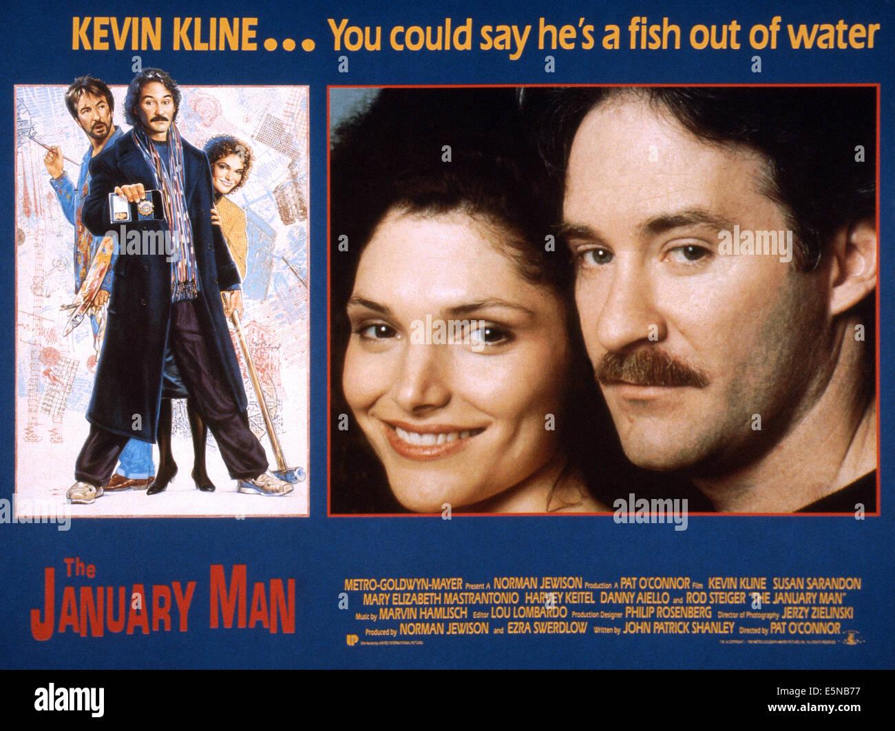 THE JANUARY MAN, from left: Mary Elizabeth Mastrantonio, Kevin Kline; far left: Alan Rickman, 1989. ©MGM/courtesy - Stock Image