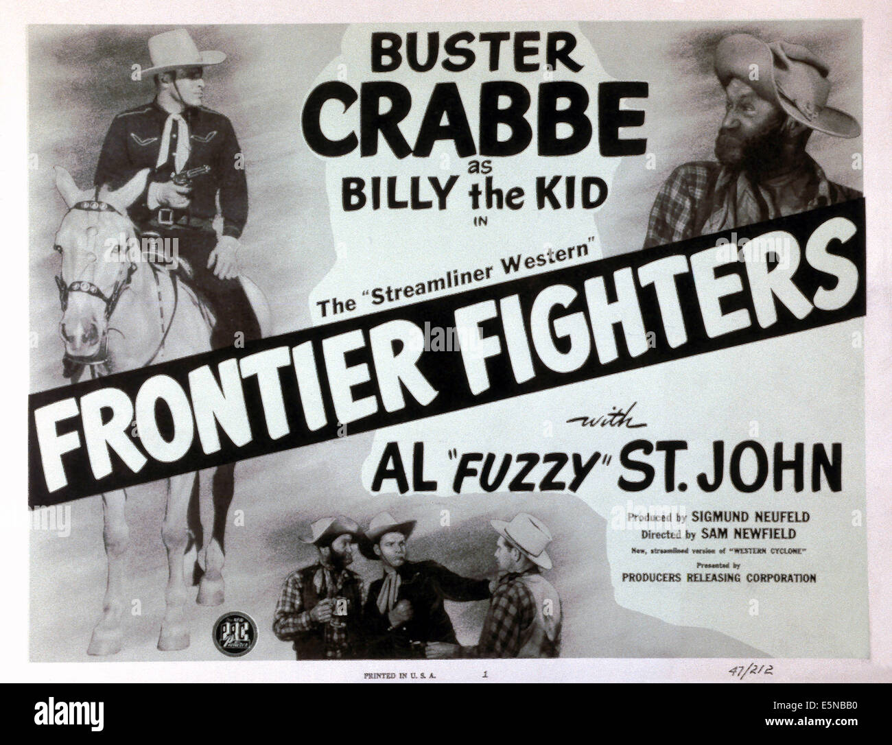 FRONTIER FIGHTERS, (aka WESTERN CYCLONE), Buster Crabbe (left), Al St. John (right), 1943 - Stock Image