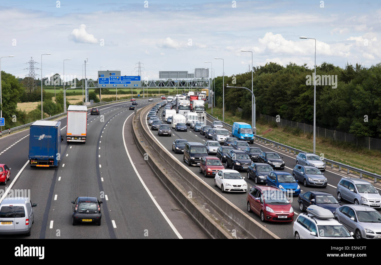 Congestion on the M5 Motorway southbound traffic approaching Junction 16, - Stock Image