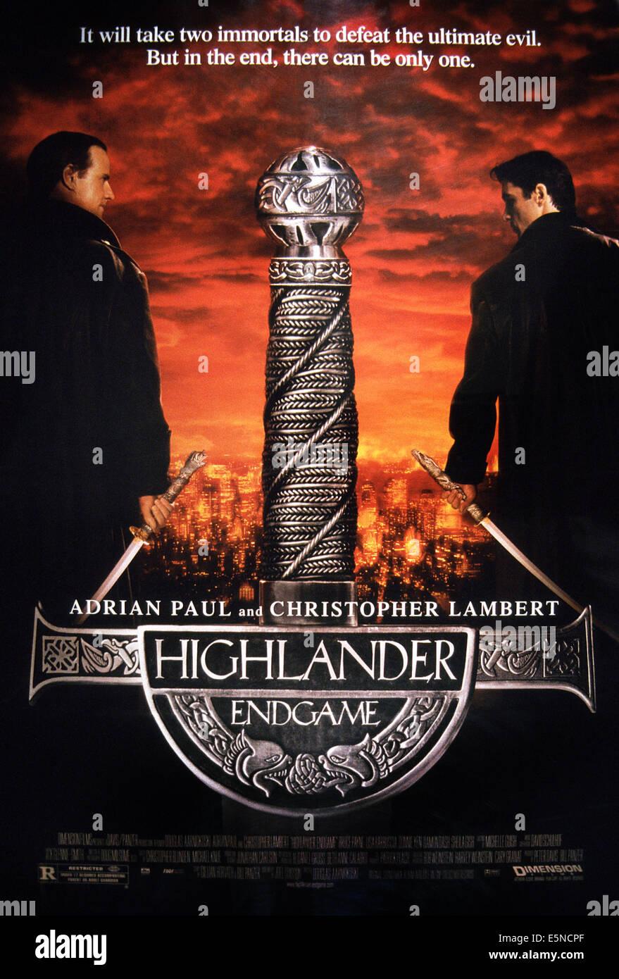 HIGHLANDER: ENDGAME, poster, from left: Christopher Lambert, Adrian Paul, 2000, ©Dimension Films/courtesy Everett - Stock Image