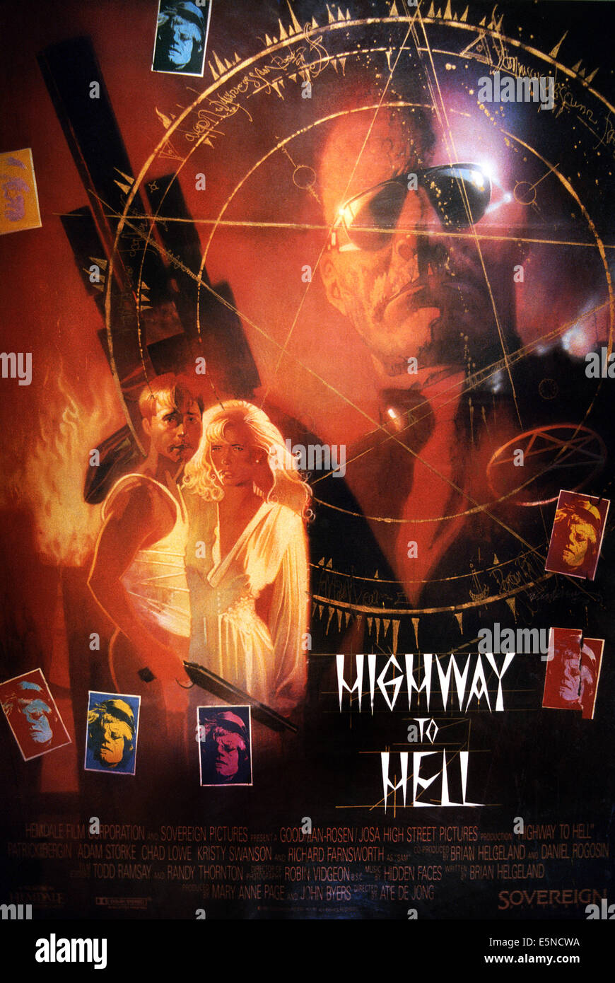 HIGHWAY TO HELL, U.S. poster, left: Chad Lowe, Kristy Swanson,1991. ©Hemdale Film/courtesy Everett Collection - Stock Image