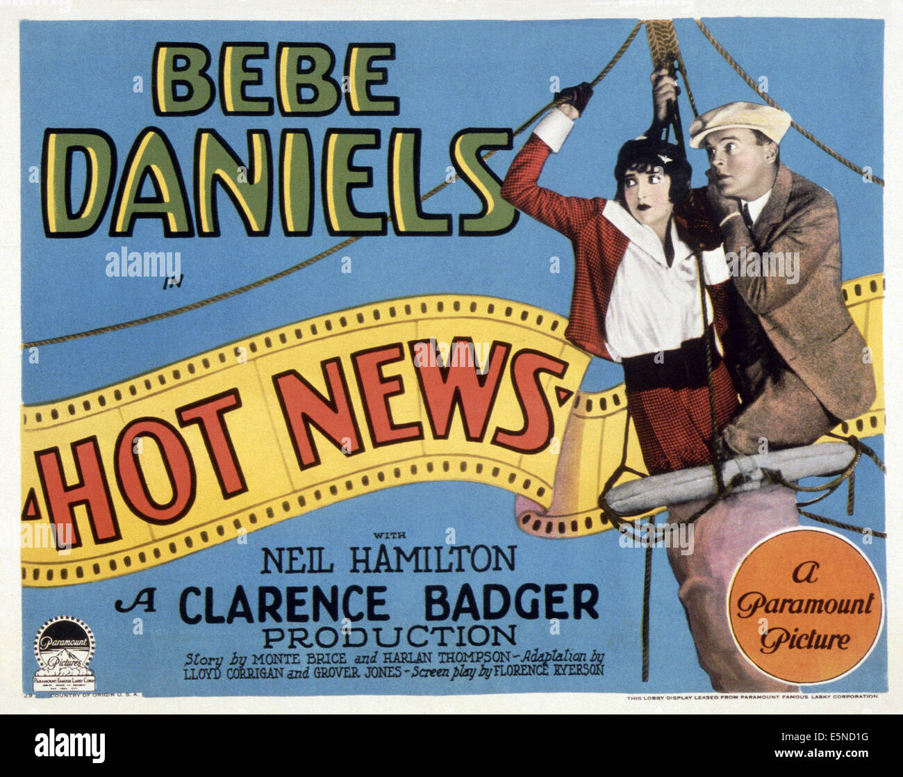 NOT NEWS, from left: Bebe Daniels, Neil Hamilton, 1928 Stock Photo