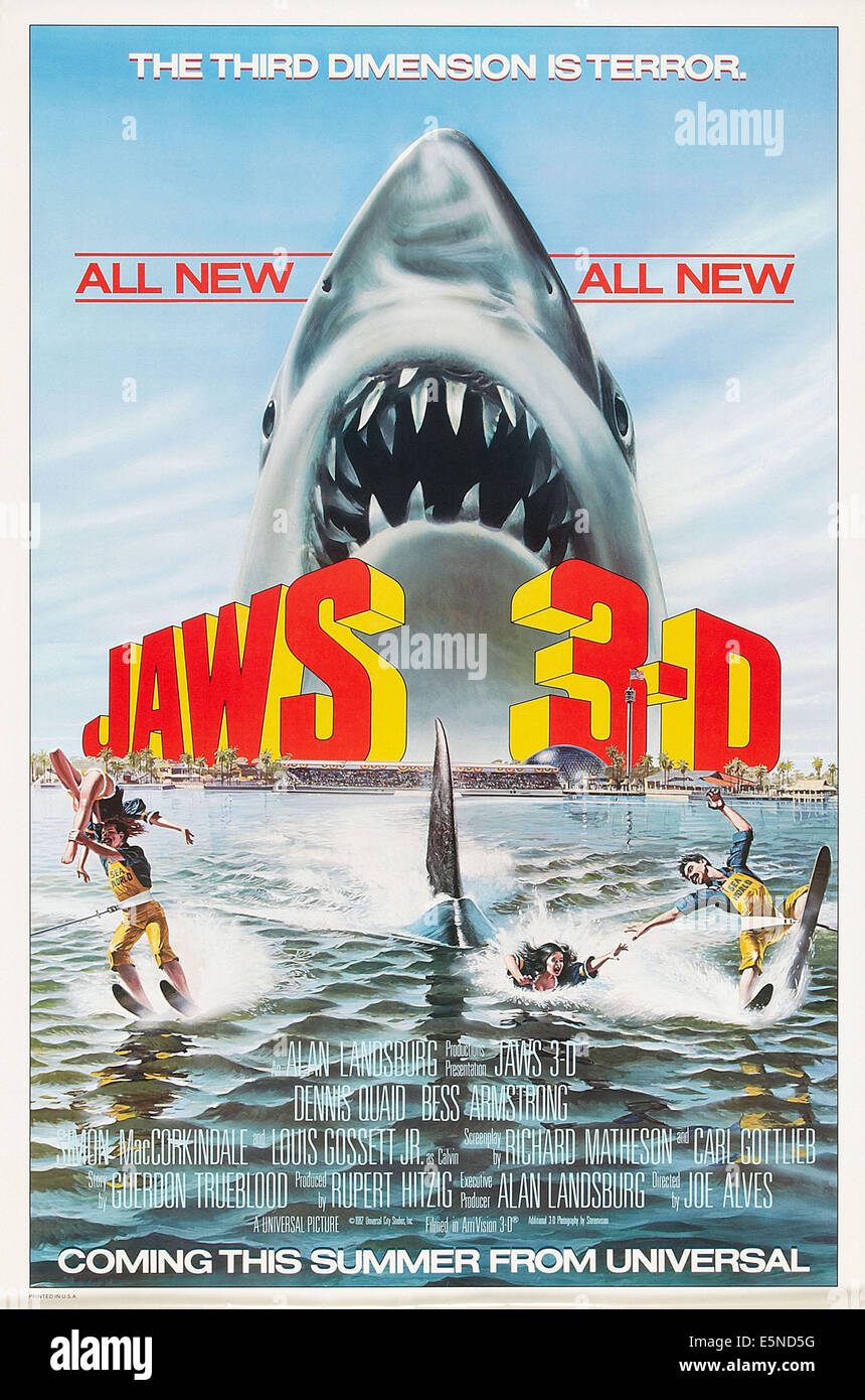 JAWS 3-D, US advance poster art, 1983. ©Universal/courtesy Everett Collection - Stock Image