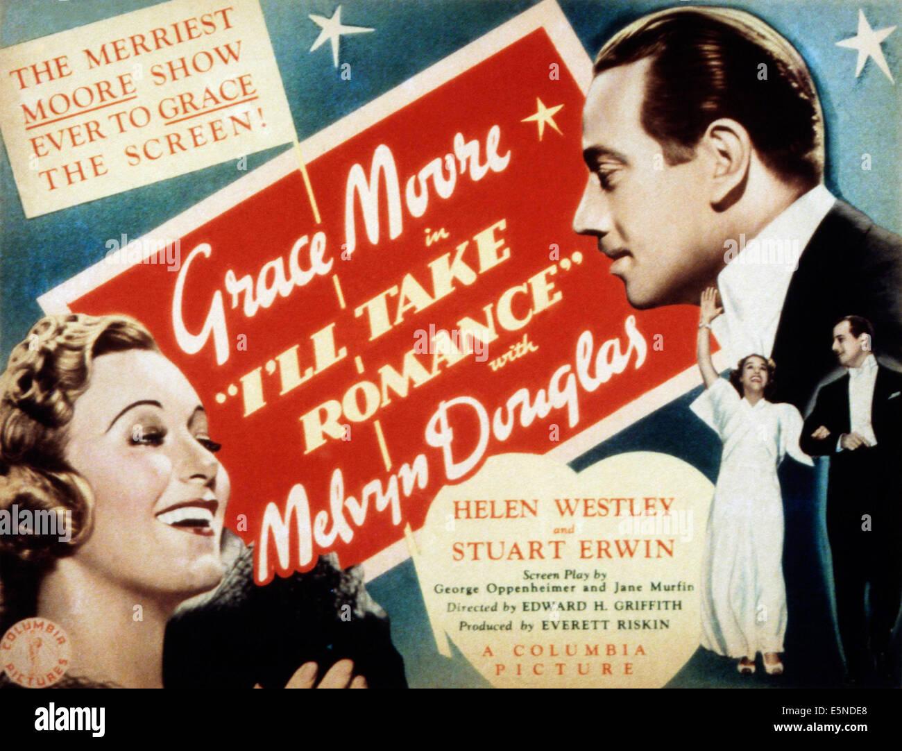 I'll TAKE ROMANCE, Grace Moore, Melvyn Douglas, 1937 - Stock Image