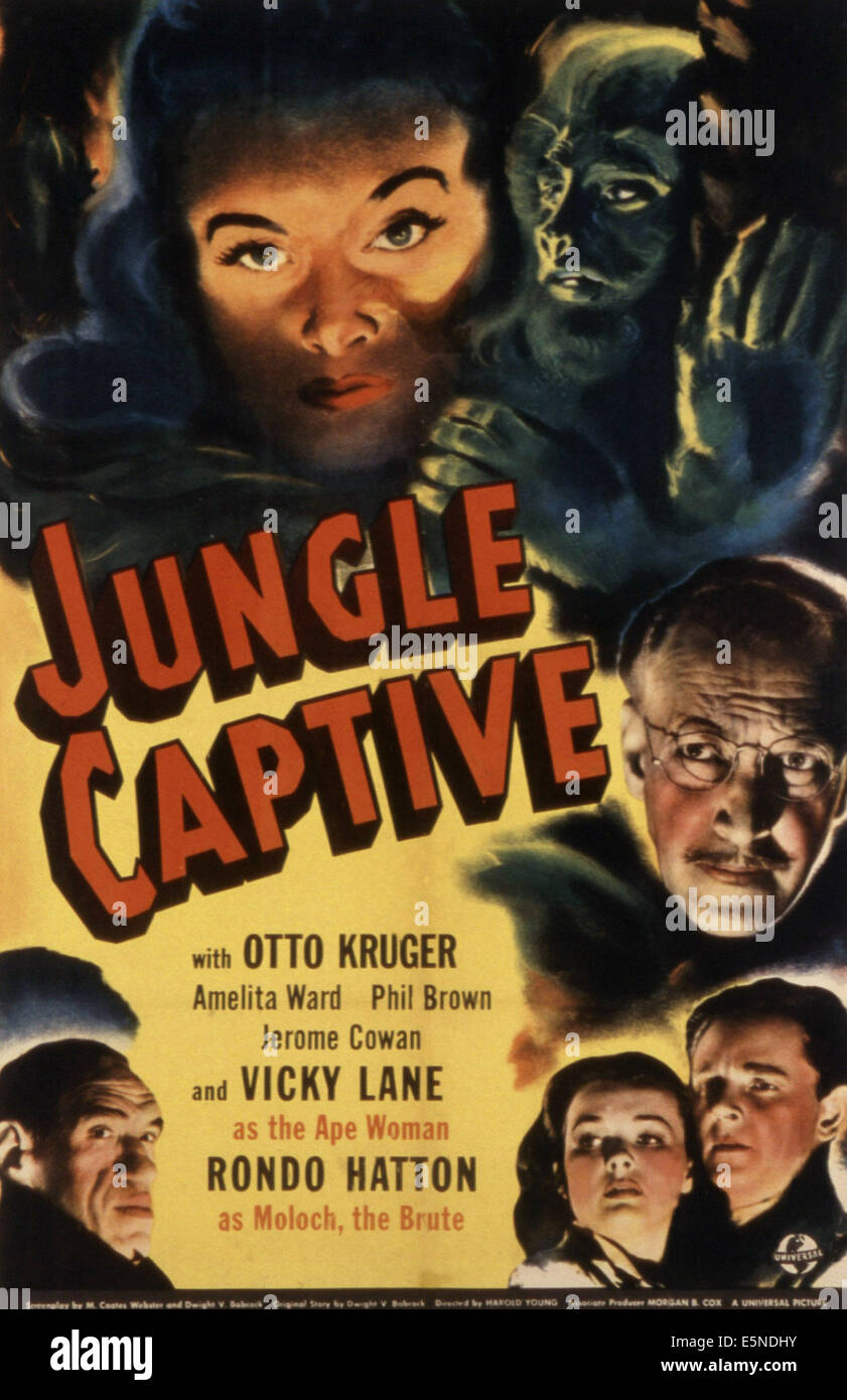 JUNGLE CAPTIVE, Otto Kruger, Amelita Ward, Phil Brown, Vicky Lane, Rondo Hatton, 1945 - Stock Image