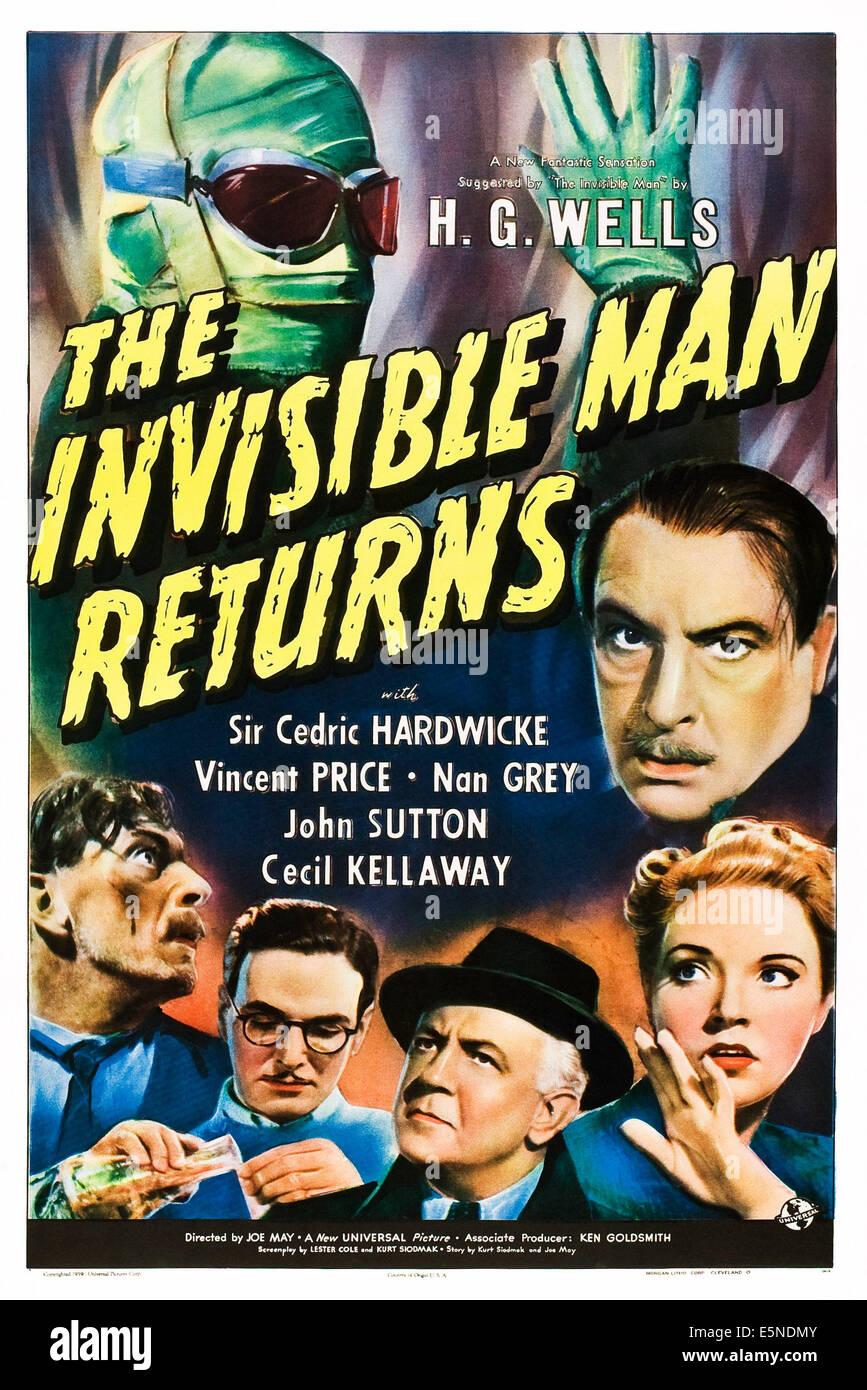 THE INVISIBLE MAN RETURNS, (clockwise) Vincent Price,  Cedric Hardwicke, Nan Grey, Cecil Kellaway, John Sutton, Stock Photo
