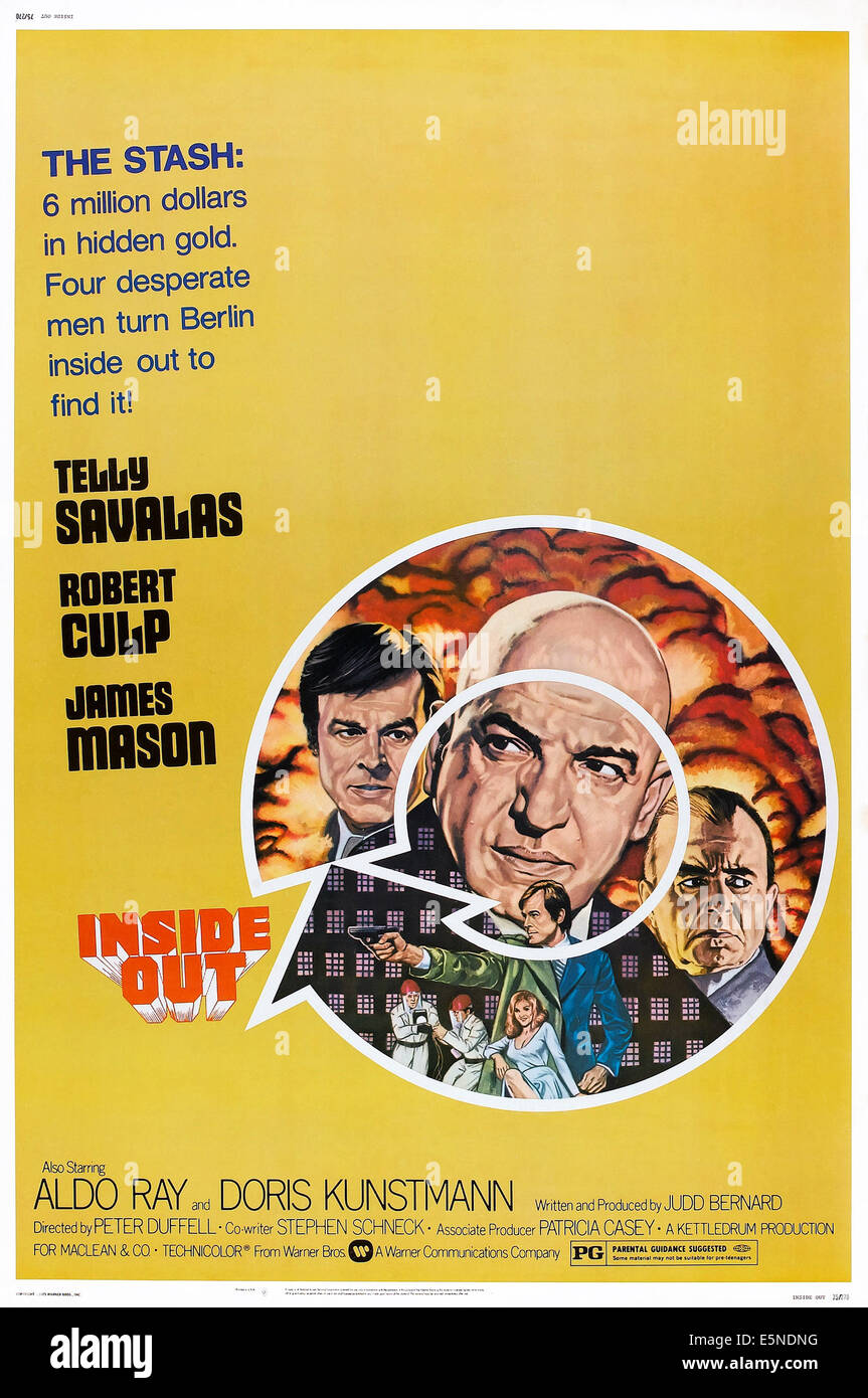 INSIDE OUT, US poster, from left: Robert Culp, Telly Savalas, James Mason, 1975 - Stock Image