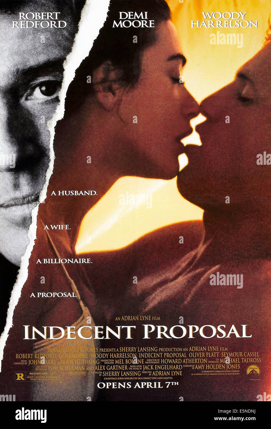 INDECENT PROPOSAL, U.S. advance poster, from left: Robert Redford, Demi Moore, Woody Harrelson, 1993. ©Paramount/courtesy - Stock Image