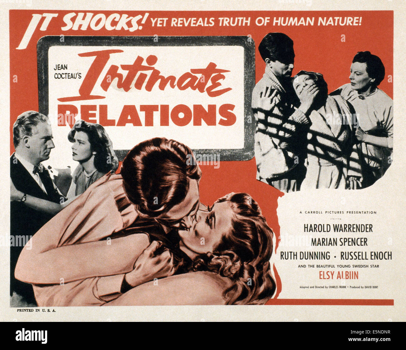 INTIMATE RELATIONS, (aka DISOBEDIENT), Harold Warrender (left), Ruth Dunning (top right), 1954 - Stock Image