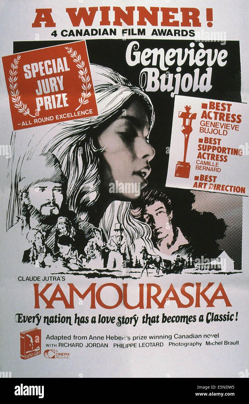 KAMOURASKA, poster, Richard Jordan (left), Genevieve Bujold (center), 1973 - Stock Image