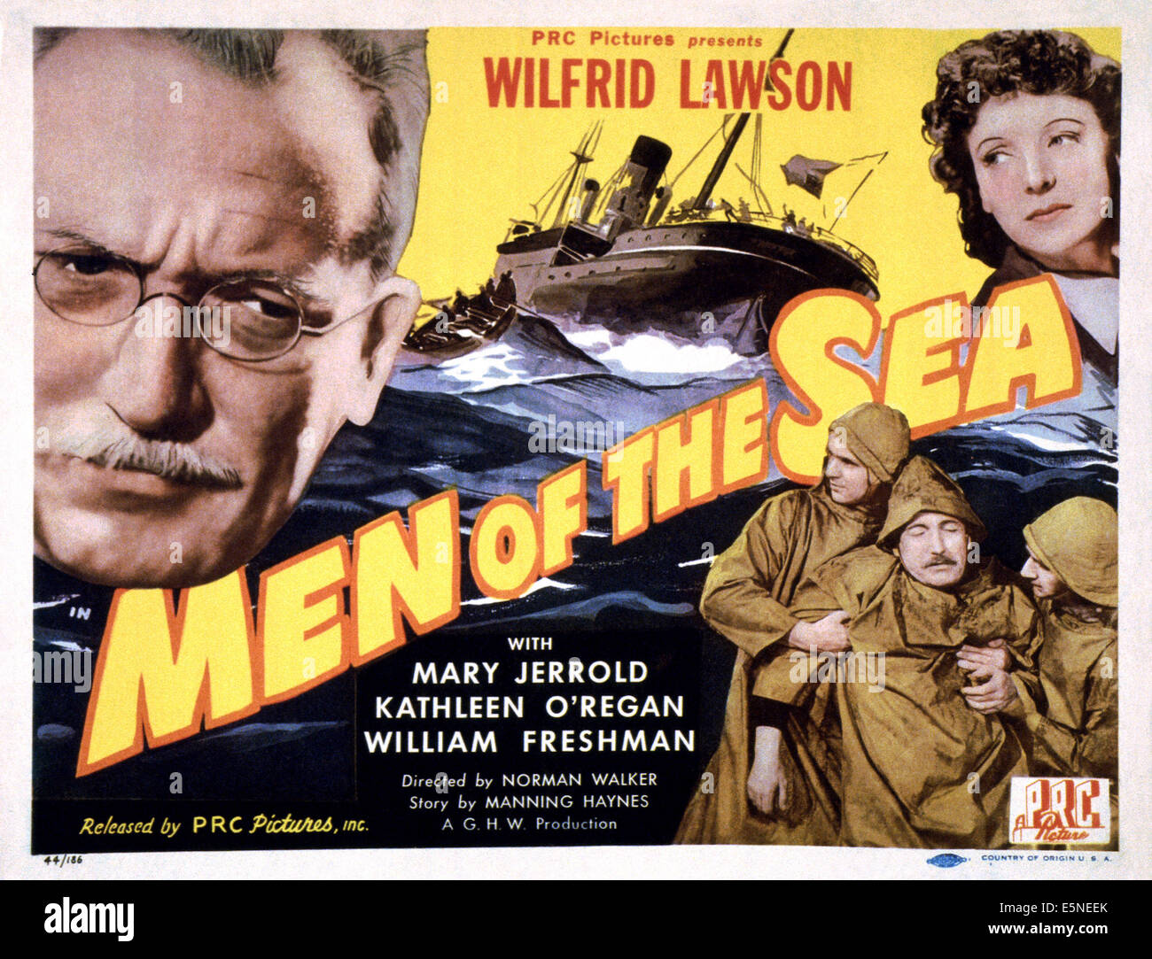 THE MAN AT THE GATE, (aka MEN OF THE SEA), US lobbycard, Wilfrid Lawson (left), 1941Stock Photo