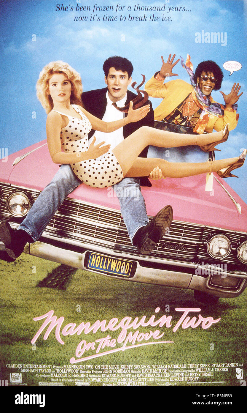 MANNEQUIN: ON THE MOVE, from left: Kristy Swanson, William Ragsdale, Meshach Taylor, 1991, TM & Copyright © - Stock Image