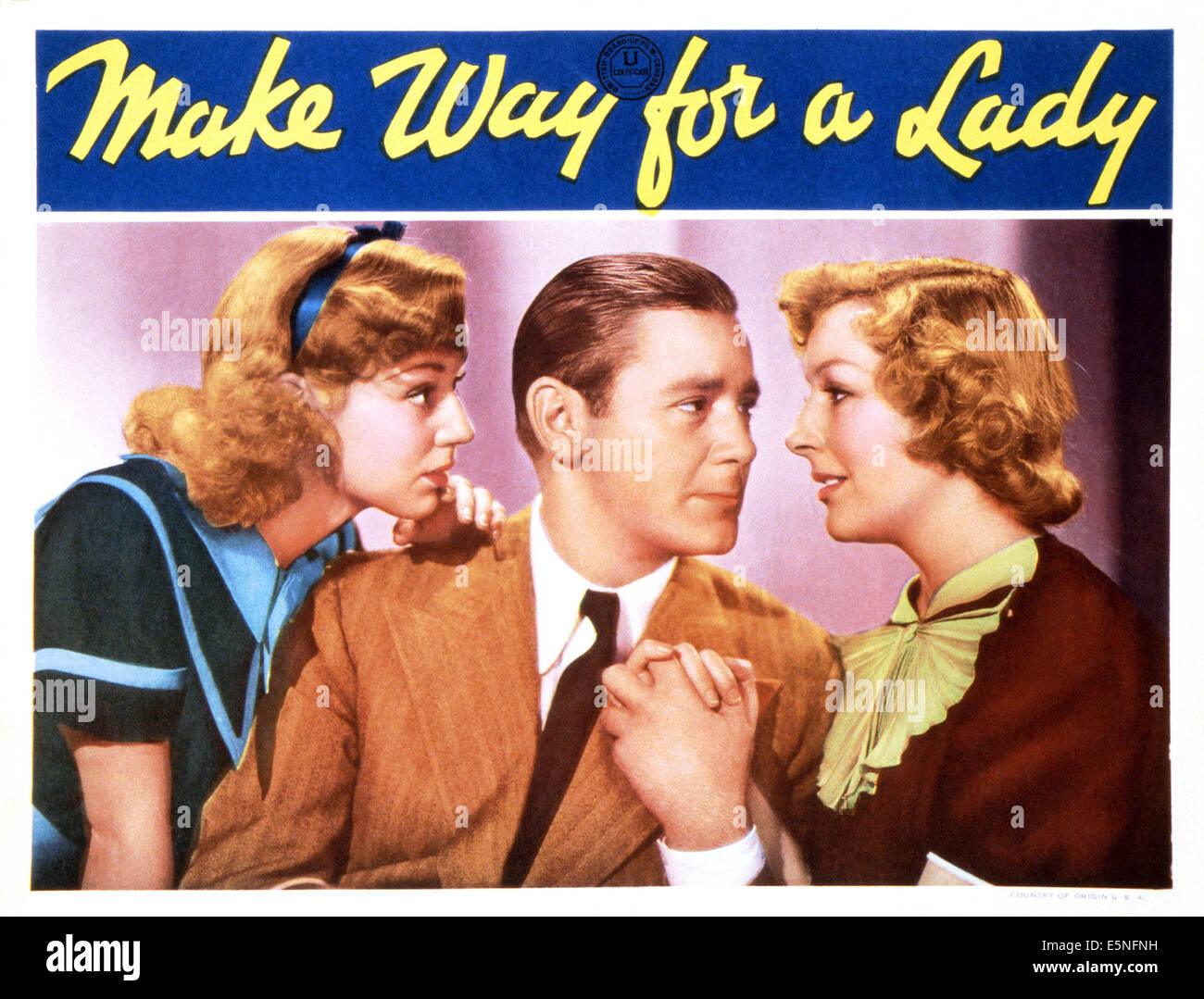 MAKE WAY FOR A LADY, from left: Anne Shirley, Herbert Marshall, Gertrude Michael, 1936 - Stock Image