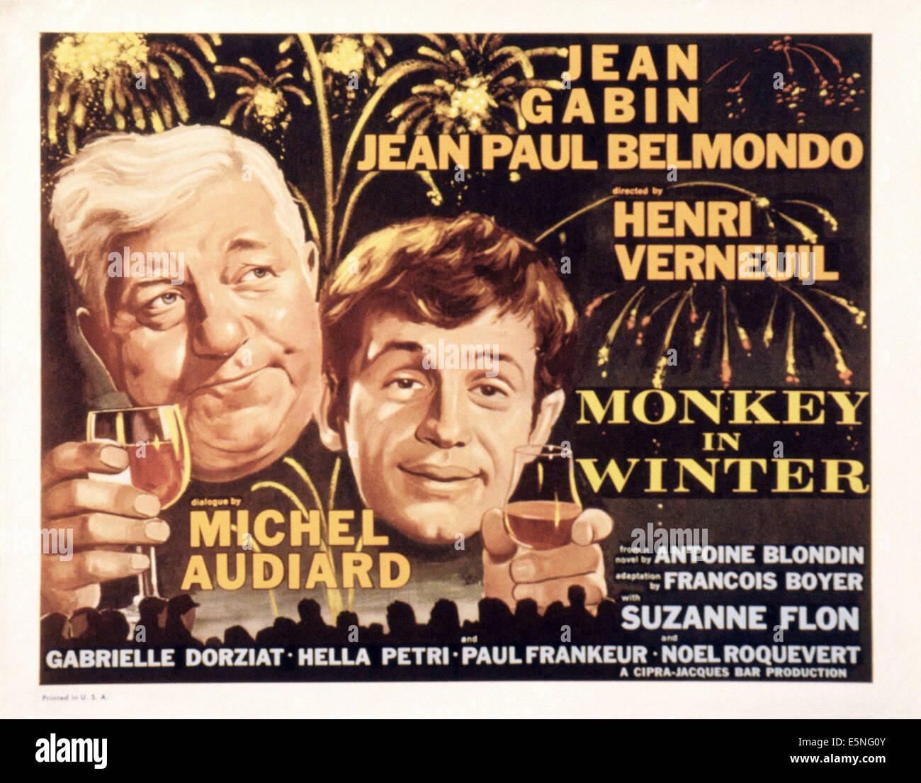 A MONKEY IN WINTER, (aka UN SINGE EN HIVER), from left: