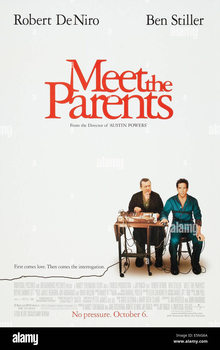 MEET THE PARENTS, US advance poster art, from left: Robert De Niro, Ben Stiller, 2000. © Universal Pictures/ - Stock Image
