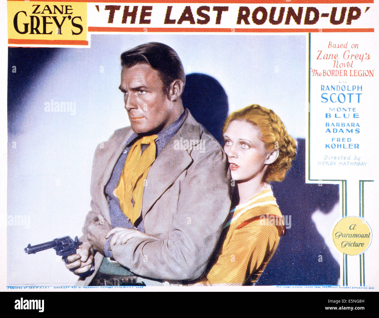 THE LAST ROUND-UP, from left: Randolph Scott, Barbara Fritchie, 1934 - Stock Image