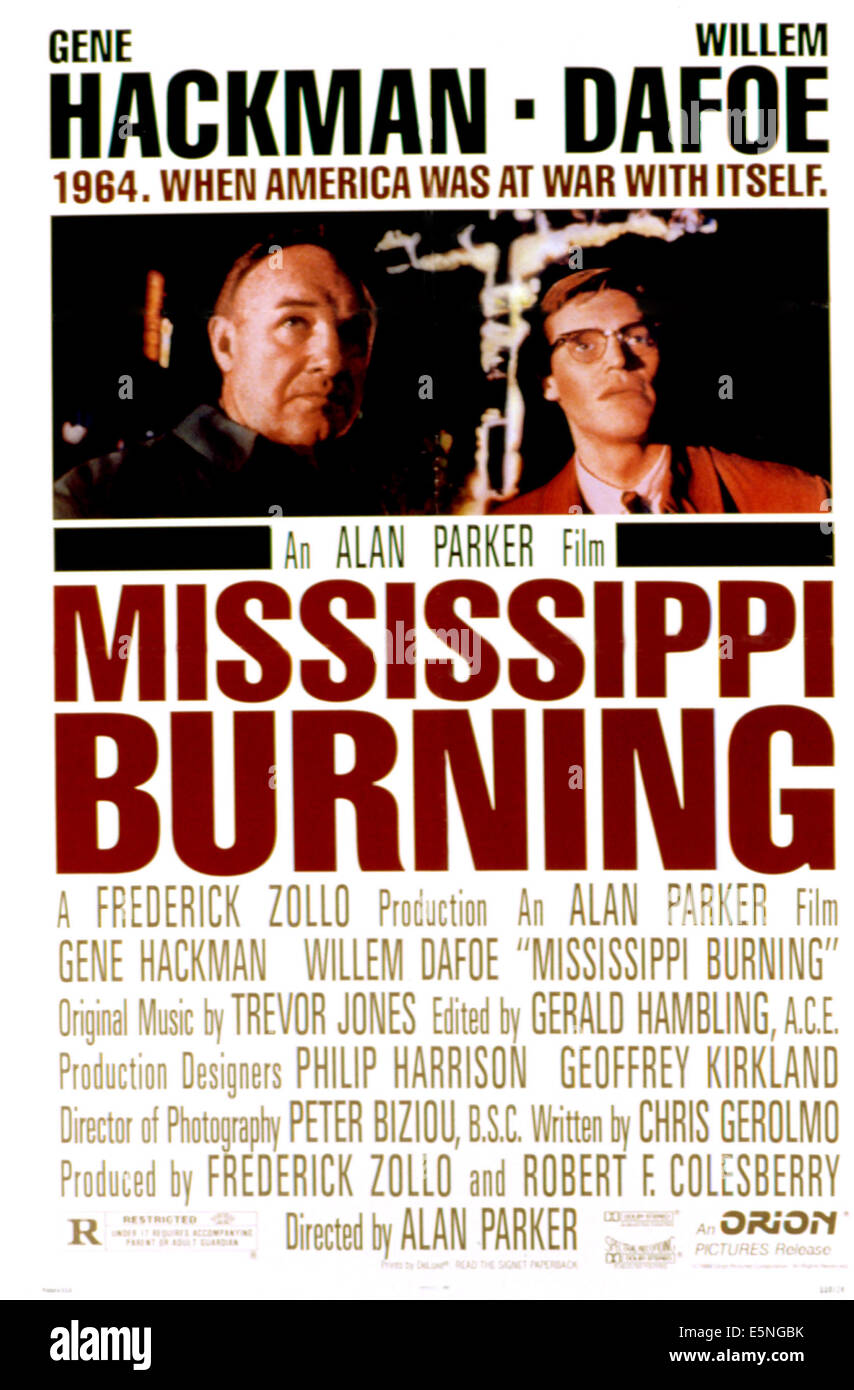 MISSISSIPPI BURNING, Gene Hackman, Willem Dafoe, 1988 - Stock Image