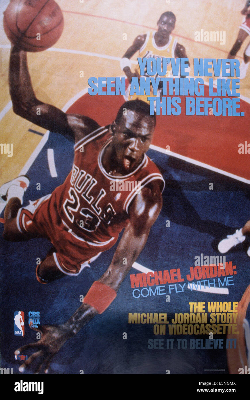 MICHAEL JORDAN: COME FLY WITH ME, US poster, Michael Jordan, 1989. ©CBS Fox Video Sports/courtesy Everett Collection Stock Photo