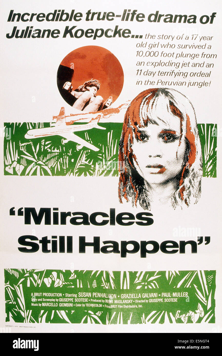 MIRACLES STILL HAPPEN, (aka THE STORY OF JULIANE KOEPCKE, aka I MIRACOLI ACCADONO ANCORA), Susan Penhaligon, 1974 - Stock Image