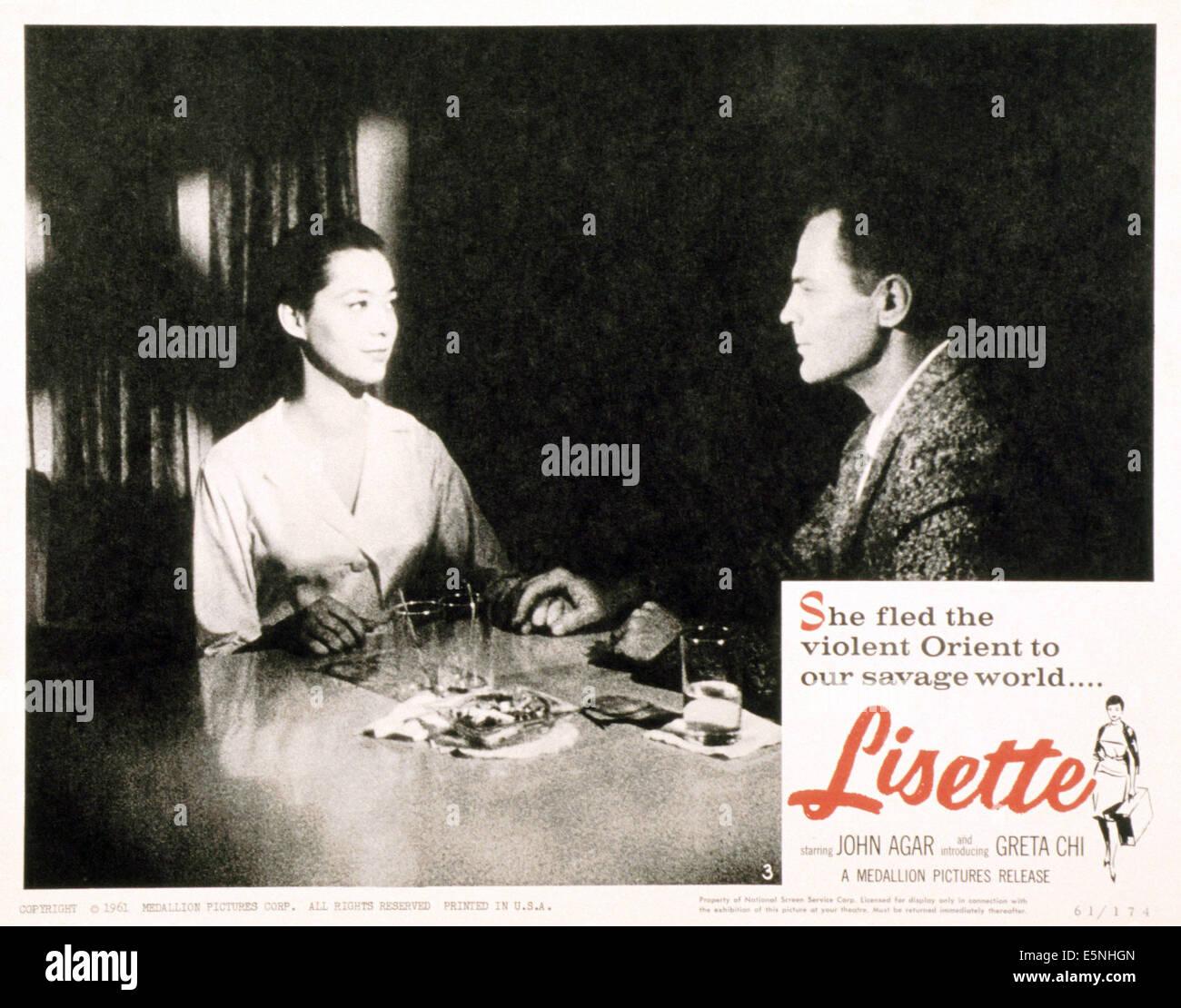 LISETTE, (aka FALL GIRL), from left: Greta Chi, John Agar, 1961 - Stock Image