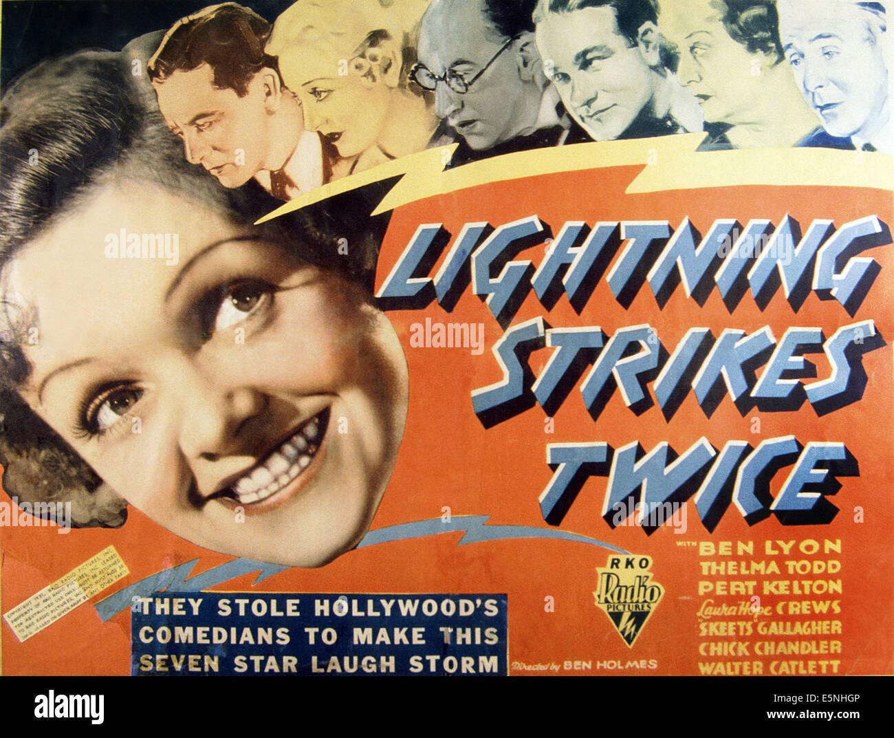 LIGHTNING STRIKES TWICE, from left: Pert Kelton, Ben Lyon, Thelma Todd, Walter Catlett, Chick Chandler, Laura Hope - Stock Image