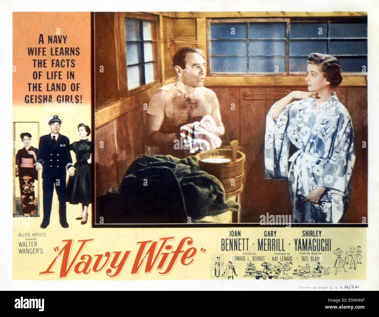 NAVY WIFE, from left: Shirley Yamaguchi, Gary Merrill, Joan Bennett,  1956 - Stock Image