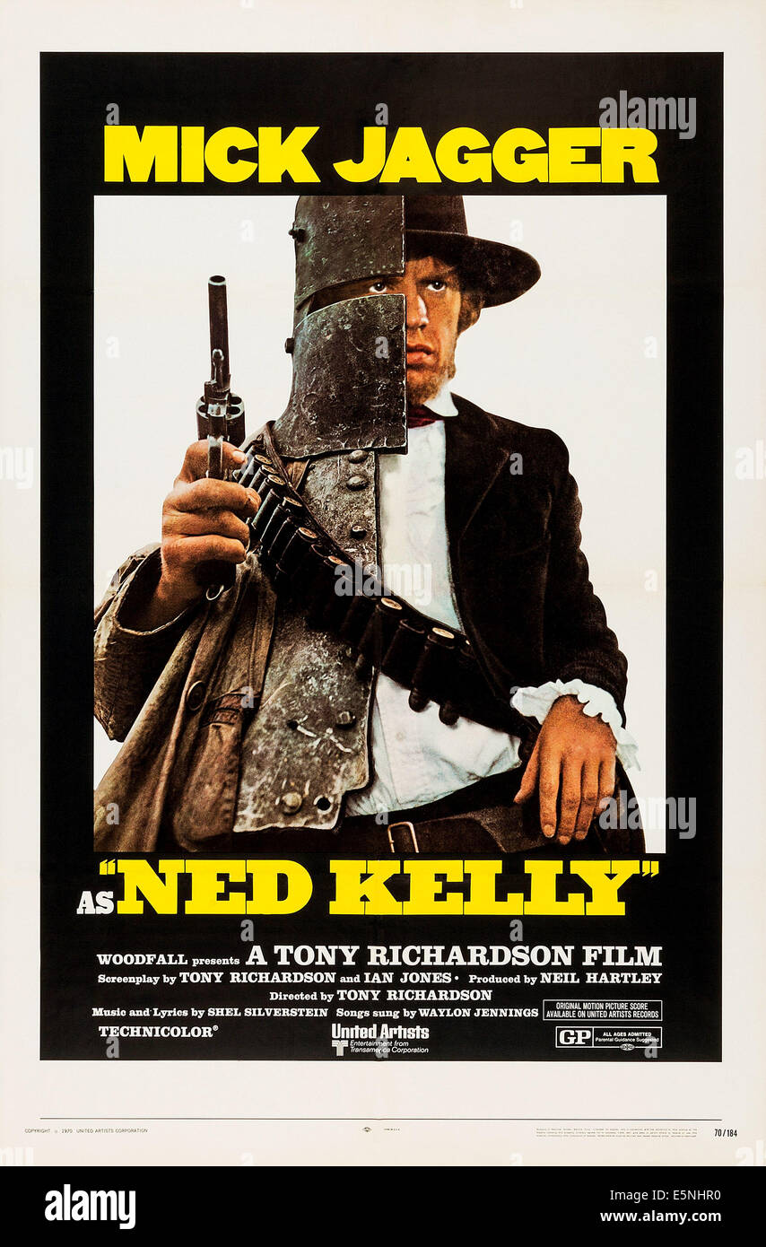 NED KELLY, US poster, Mick Jagger, 1970 - Stock Image