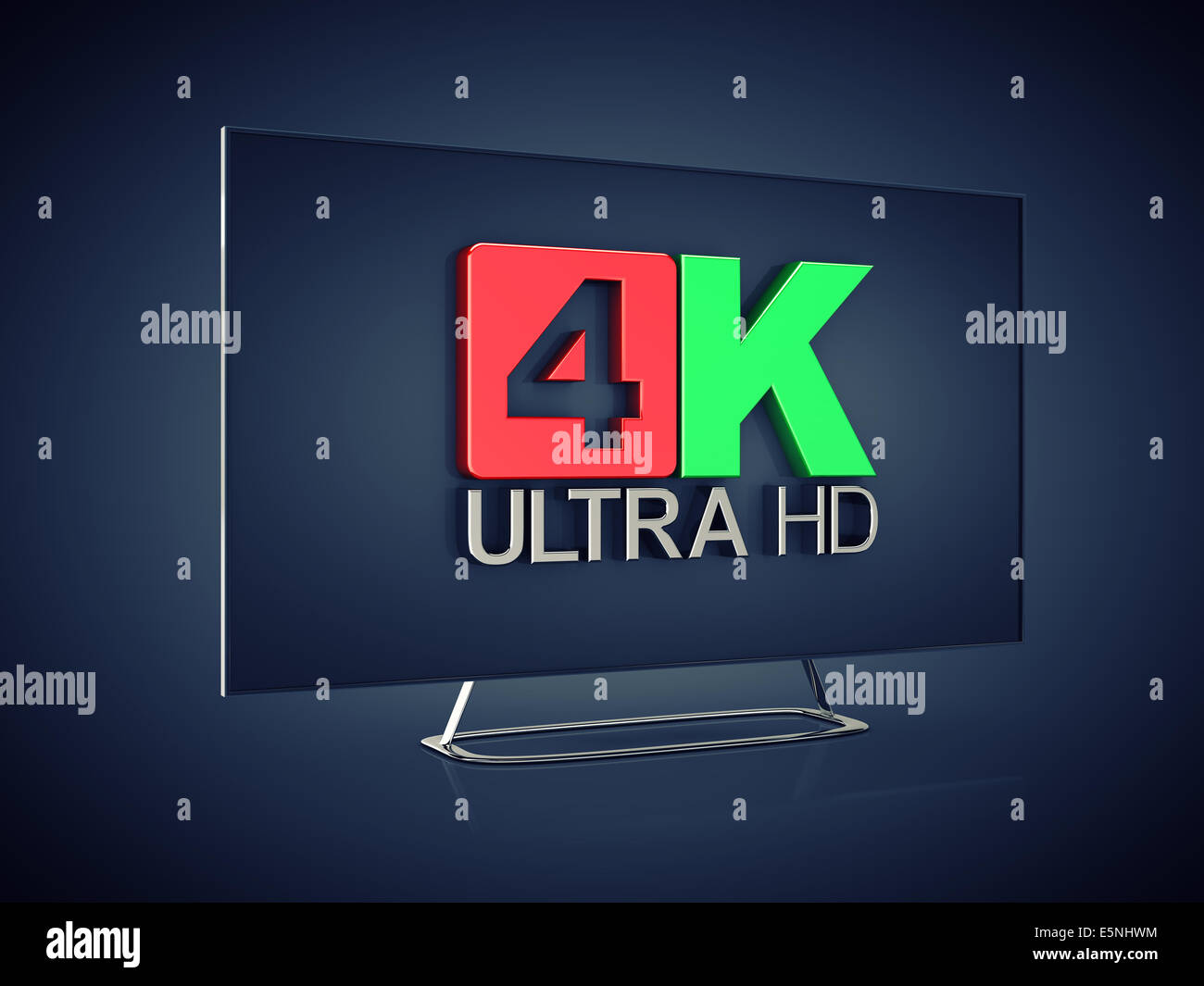 4K Ultra HD screen tv on dark background , Ultra High Definition display - Stock Image