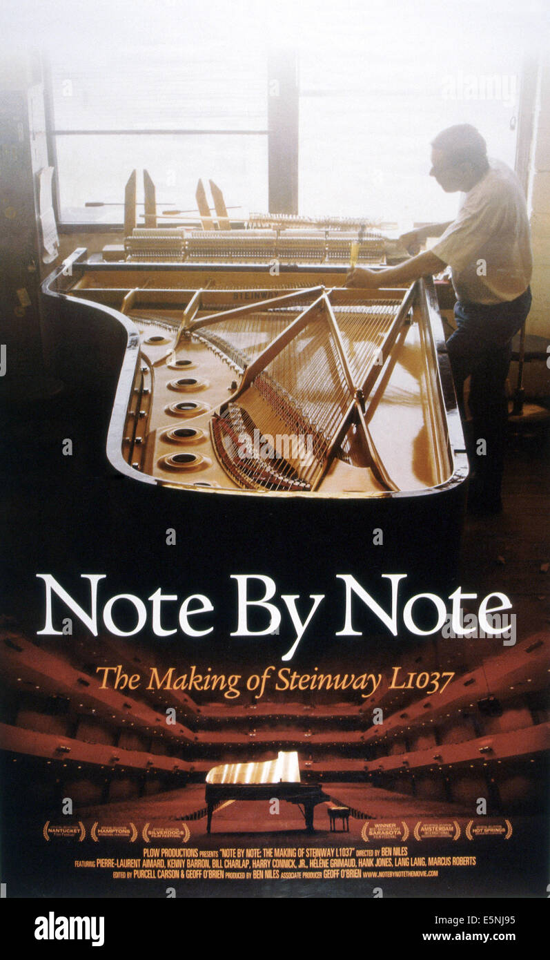 NOTE BY NOTE: THE MAKING OF STEINWAY L1037, US poster, 2007, © Plow Productions/courtesy Everett Collection - Stock Image