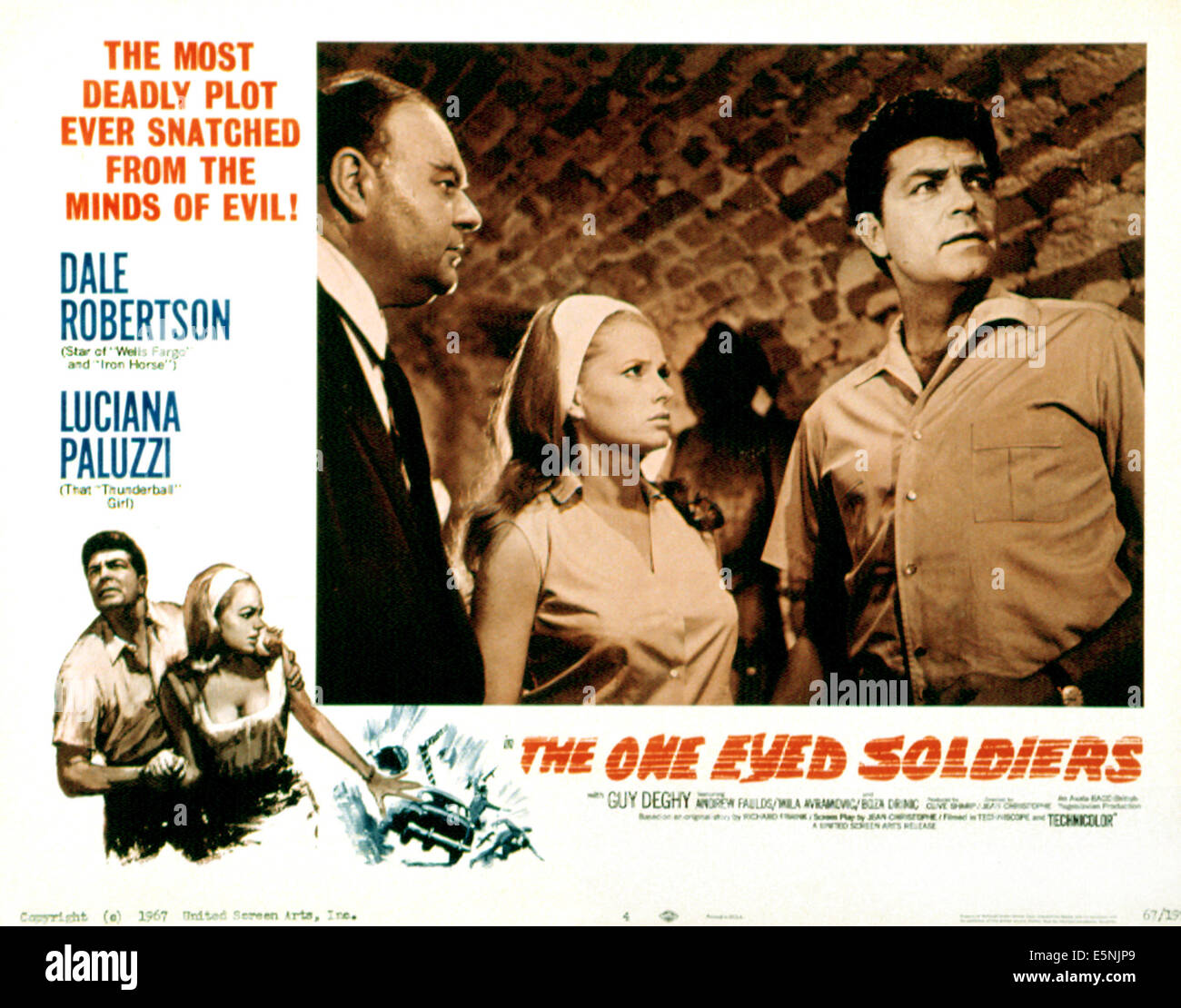 THE ONE EYED SOLDIERS, Luciana Paluzzi (center), Dale Robertson (right), (lobbycard), 1966 - Stock Image