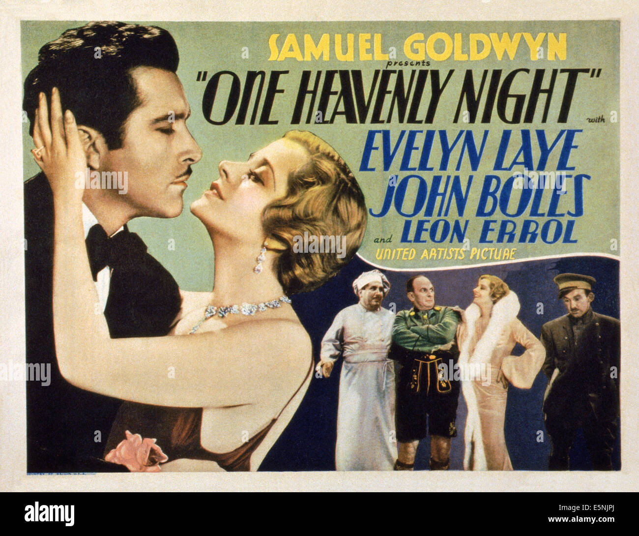 ONE HEAVENLY NIGHT, US lobbycard, John Boles (left), Evelyn Laye (second left)), Leon Errol (third right), 1931 - Stock Image