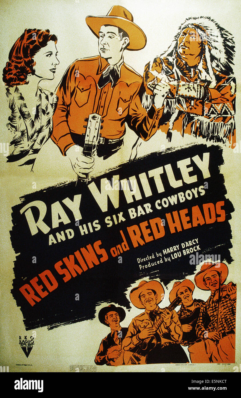 REDSKINS AND REDHEADS, US poster, top from left: Virginia Vale, Ray Whitley, 1941 - Stock Image