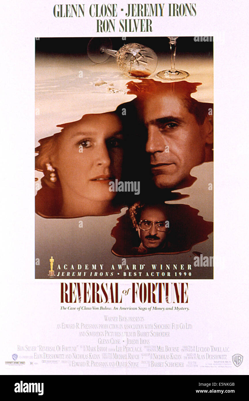 REVERSAL OF FORTUNE, Glenn Close, Ron Silver, Jeremy Irons, 1990 - Stock Image
