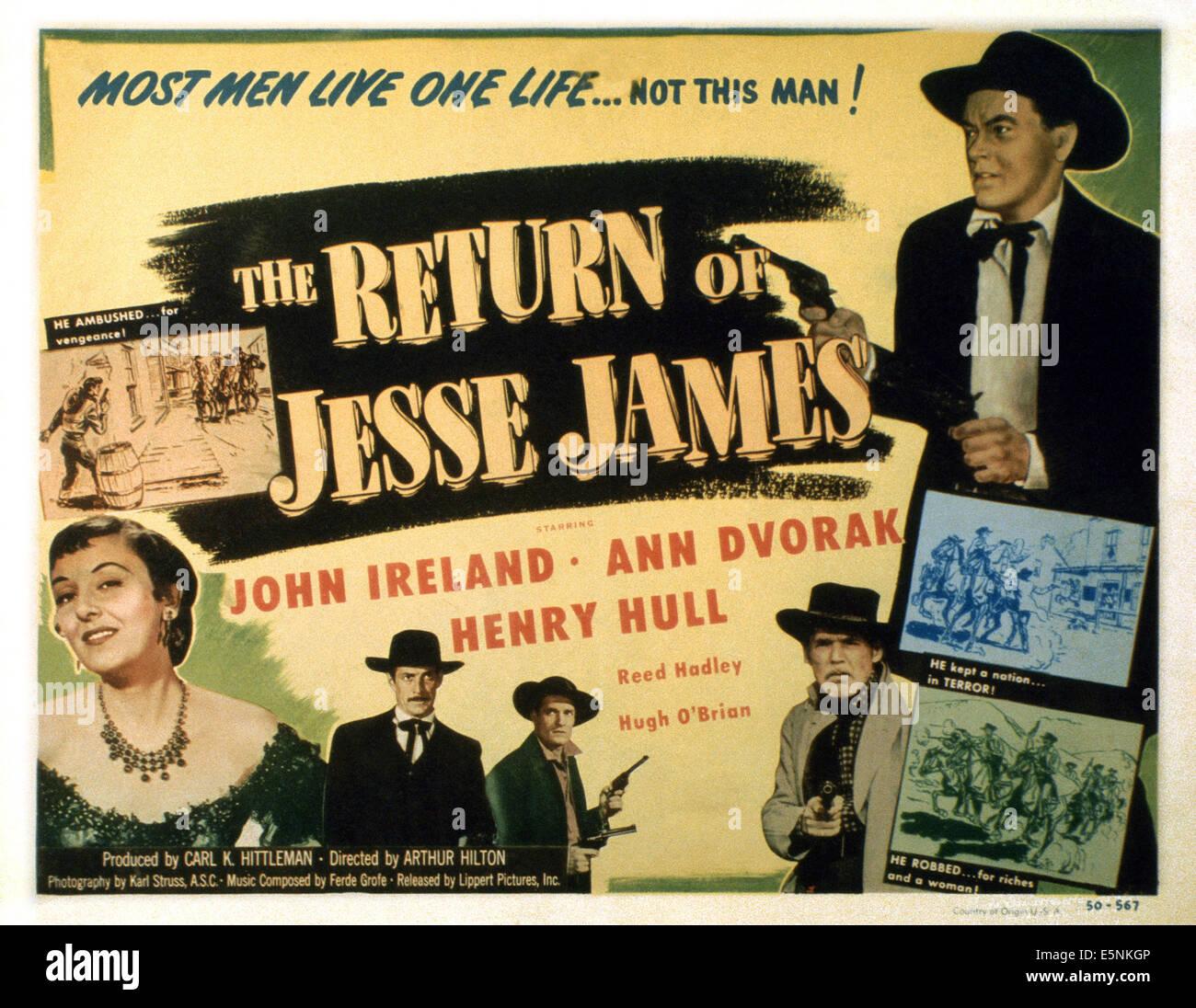 THE RETURN OF JESSE JAMES, US lobbycard, John Ireland (top right), Henry Hull (bottom right), Ann Dvorak (bottom - Stock Image