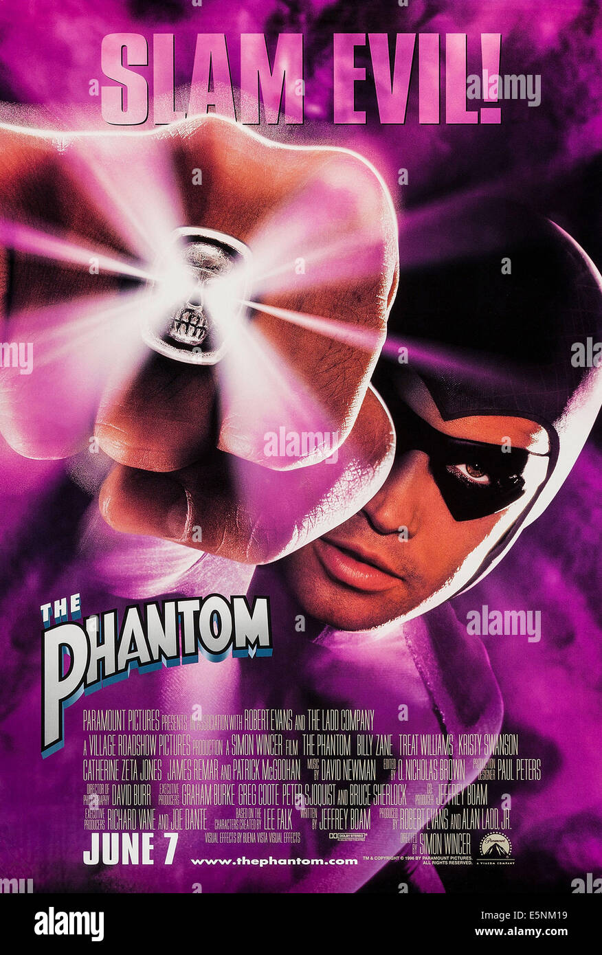 THE PHANTOM, US advance poster art, Billy Zane, 1996, © Paramount/courtesy Evrett Collection - Stock Image
