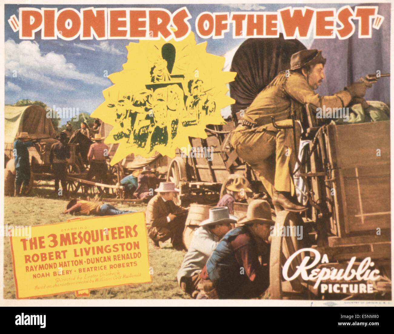 PIONEERS OF THE WEST, US lobbycard, 1940 - Stock Image