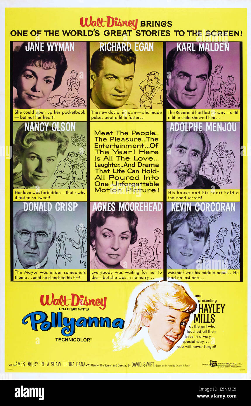 POLLYANNA, US poster art, (top row l-r): Jane Wyman, Richard Egan, Karl Malden, (second row l-r): Nancy Olson, Adolphe - Stock Image