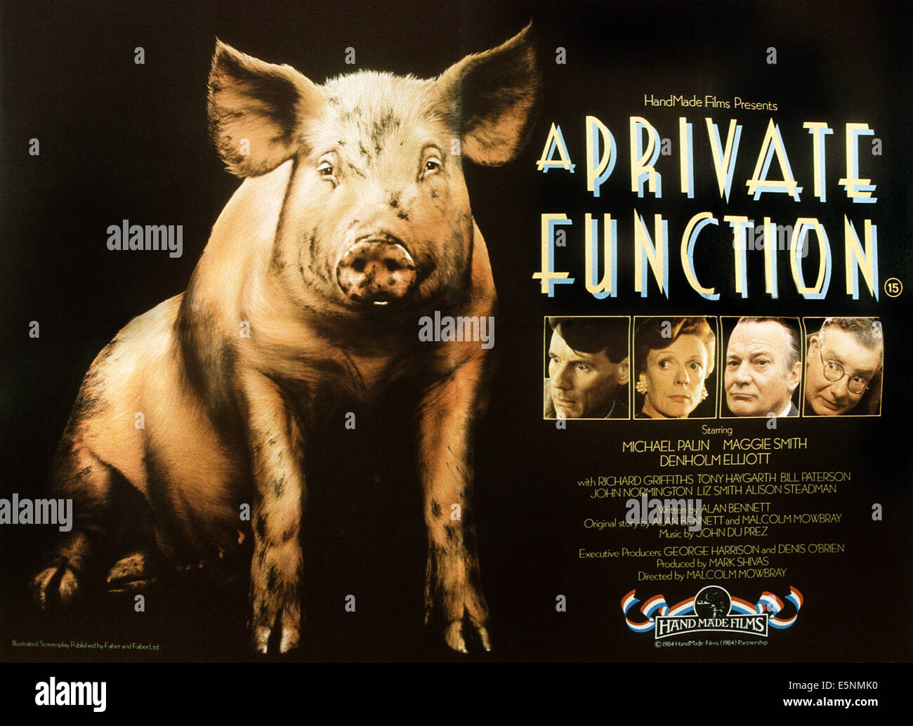 A PRIVATE FUNCTION, British poster, from left: Michael Palin, Maggie Smith, Denholm Elliott, Richard Griffiths, - Stock Image